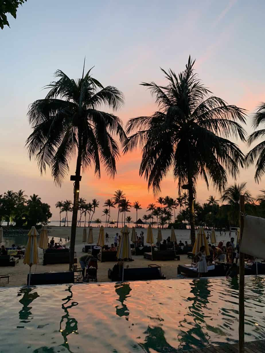 Sunset, Tanjong Beach Club, Palm Trees