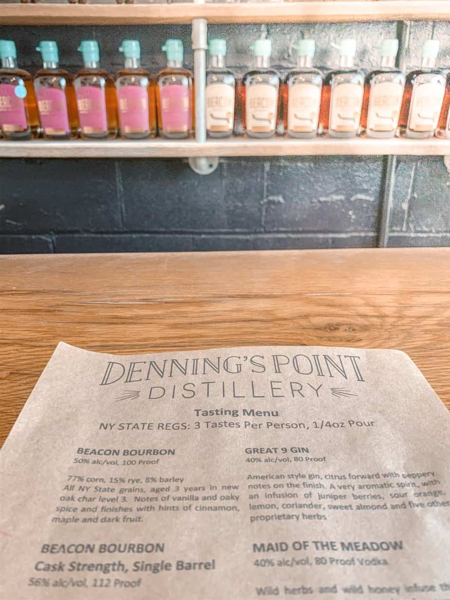Dennings Point Distillery Menu