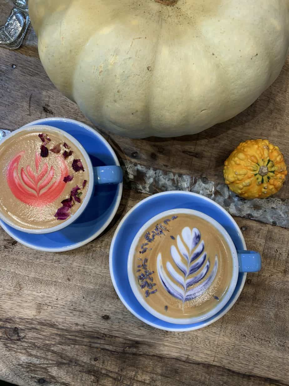 Floral latte art in red and purple with pumpkins