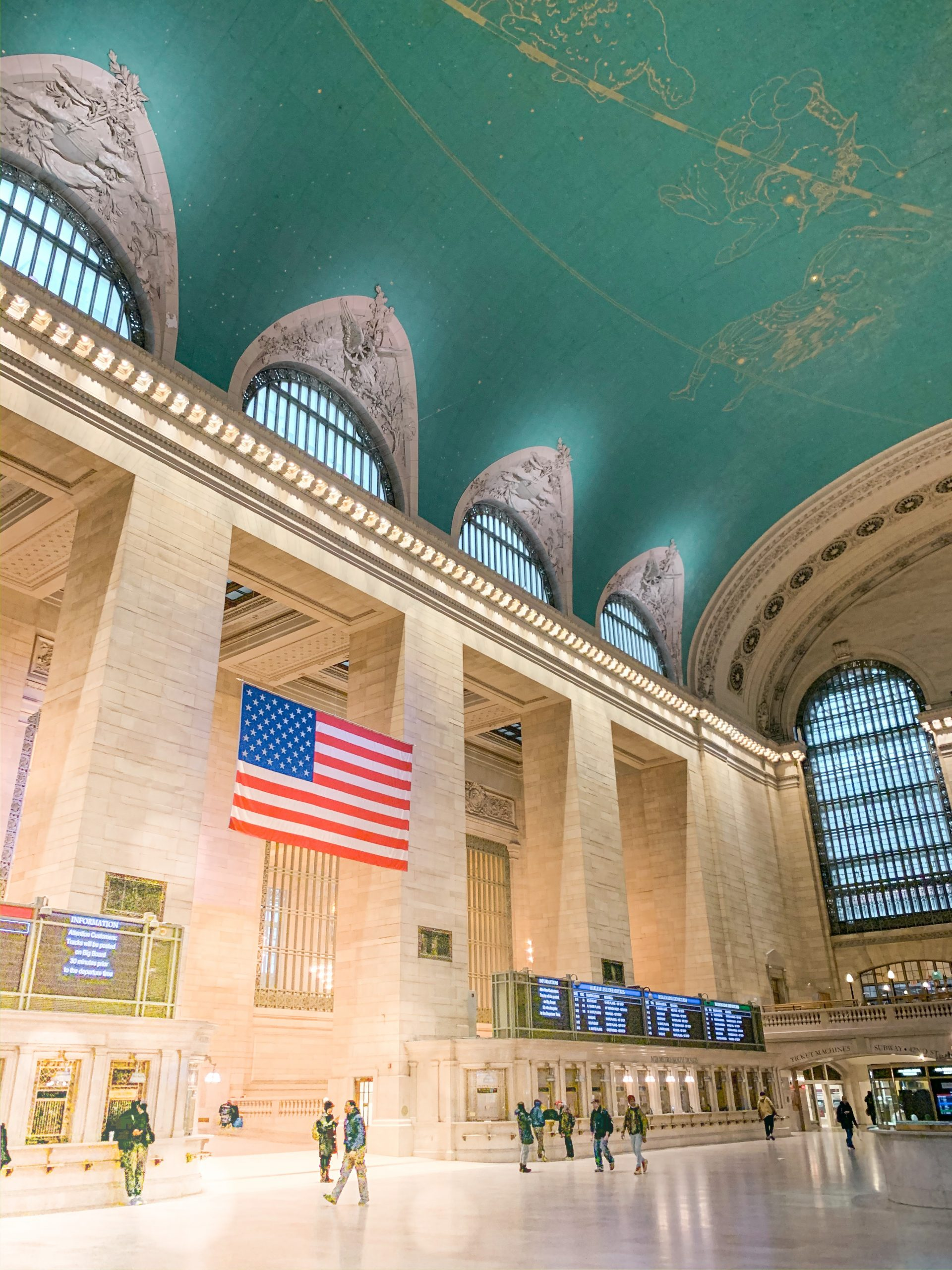 Grand Central Terminal with American Flag