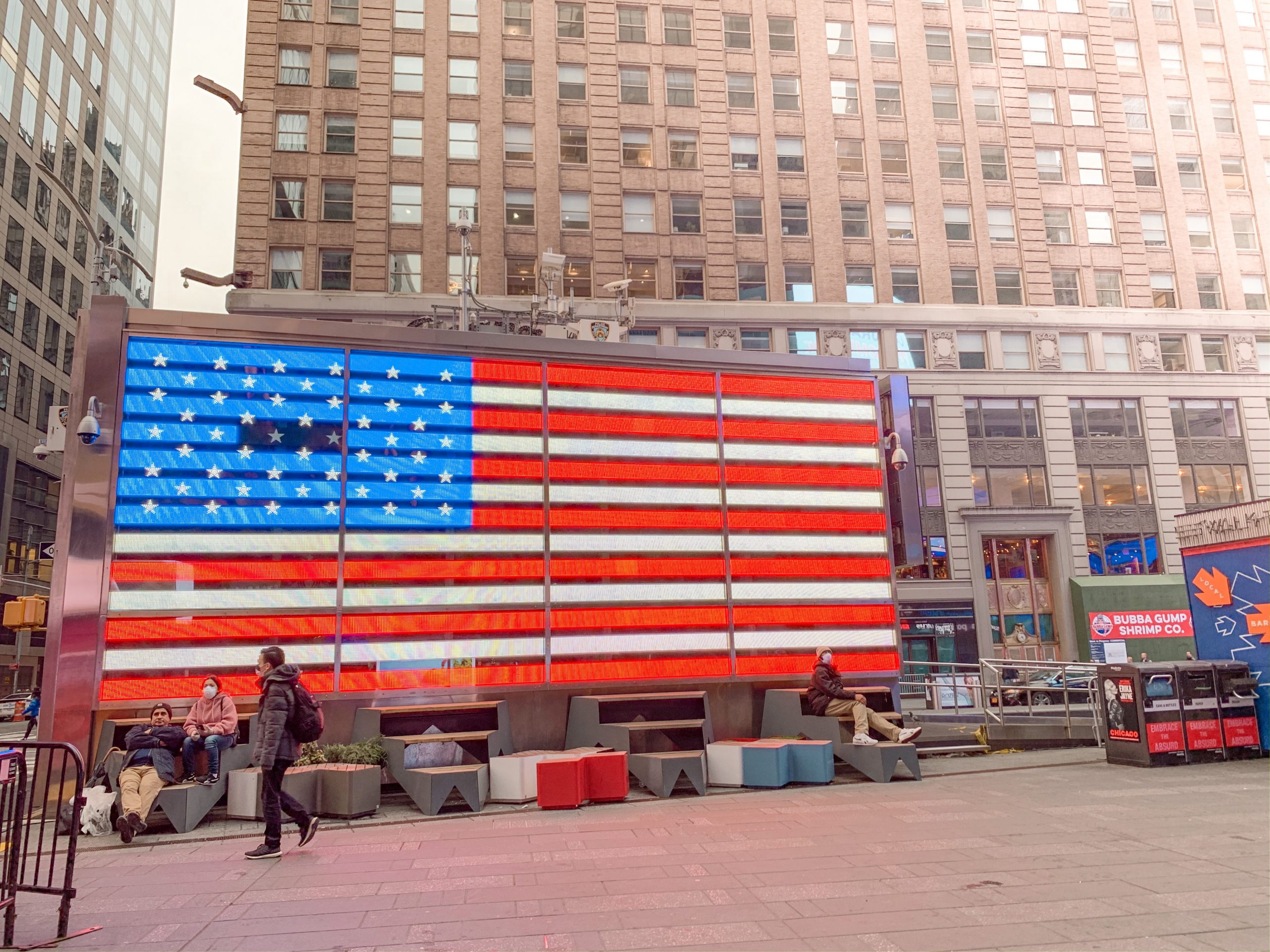 Neon American Flag in Times Square