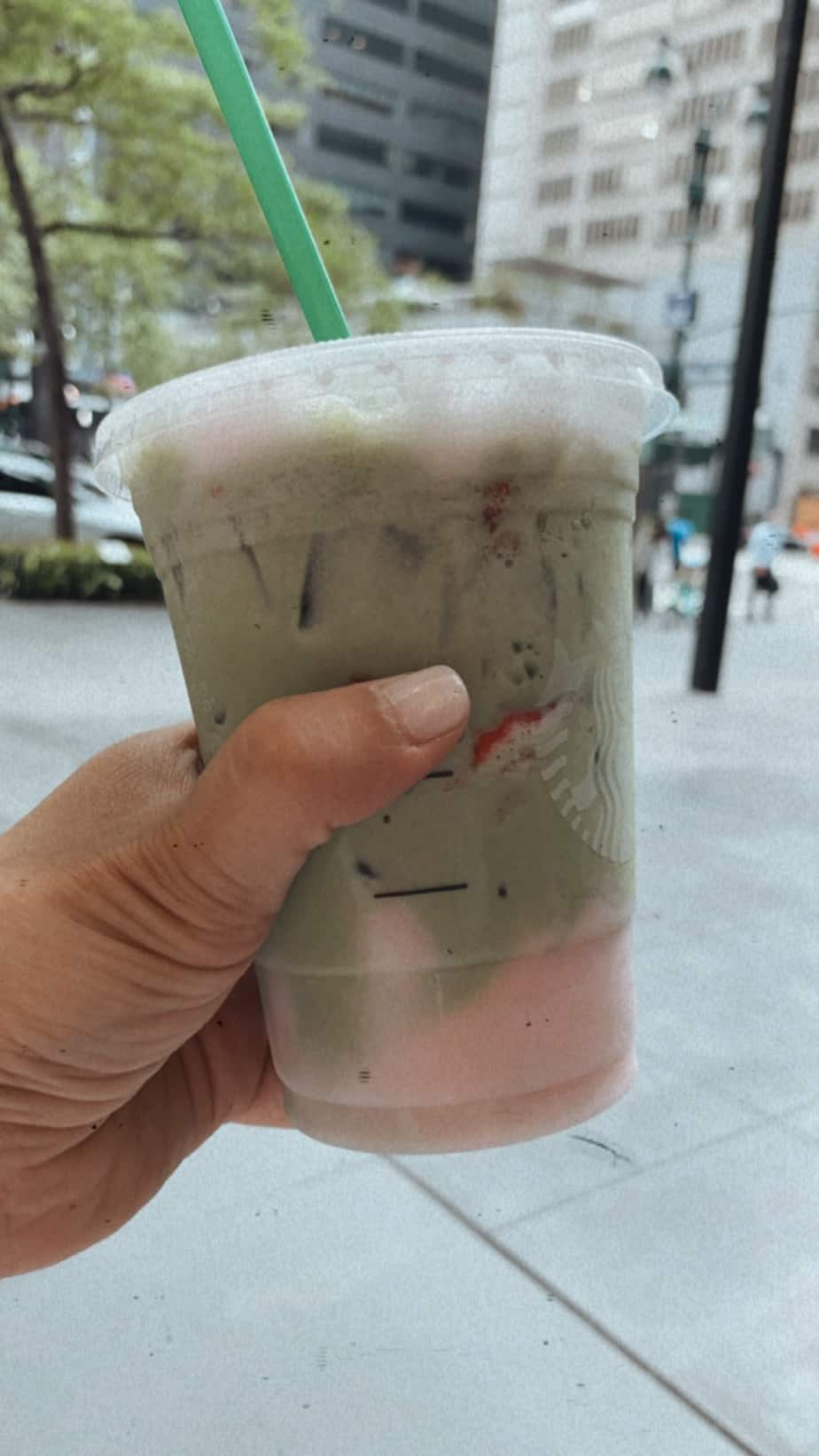 pink drink with matcha foam from starbucks