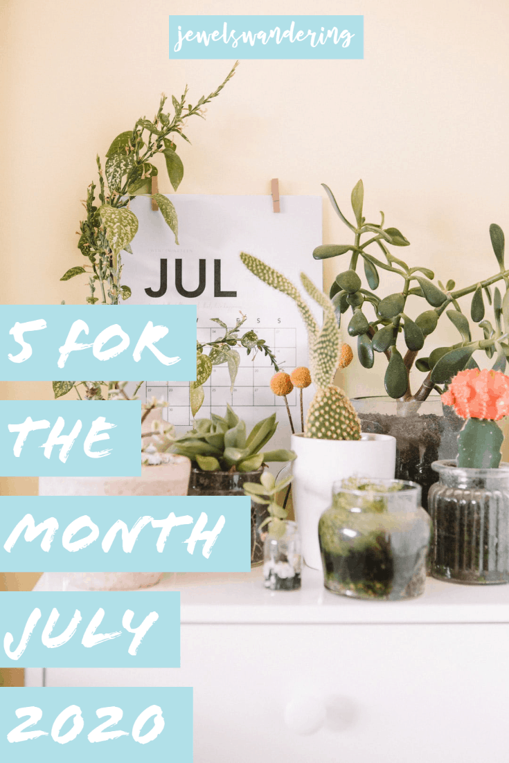 calendar of July with succulents