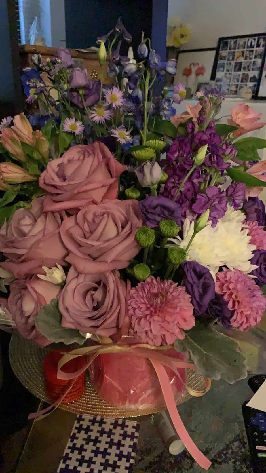 bouquet of flowers in pinks and purples