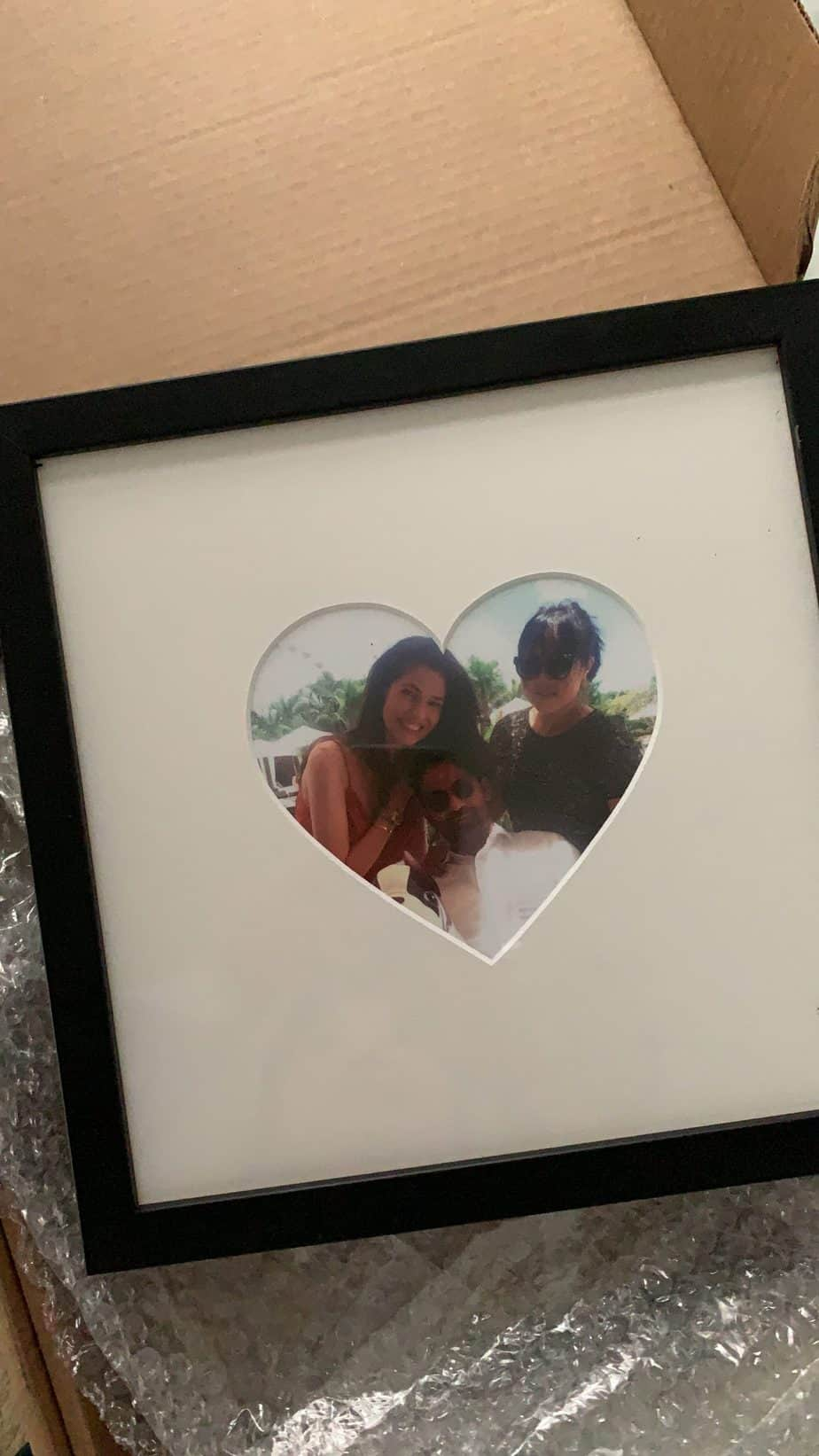 Heart shaped mat black picture frame
