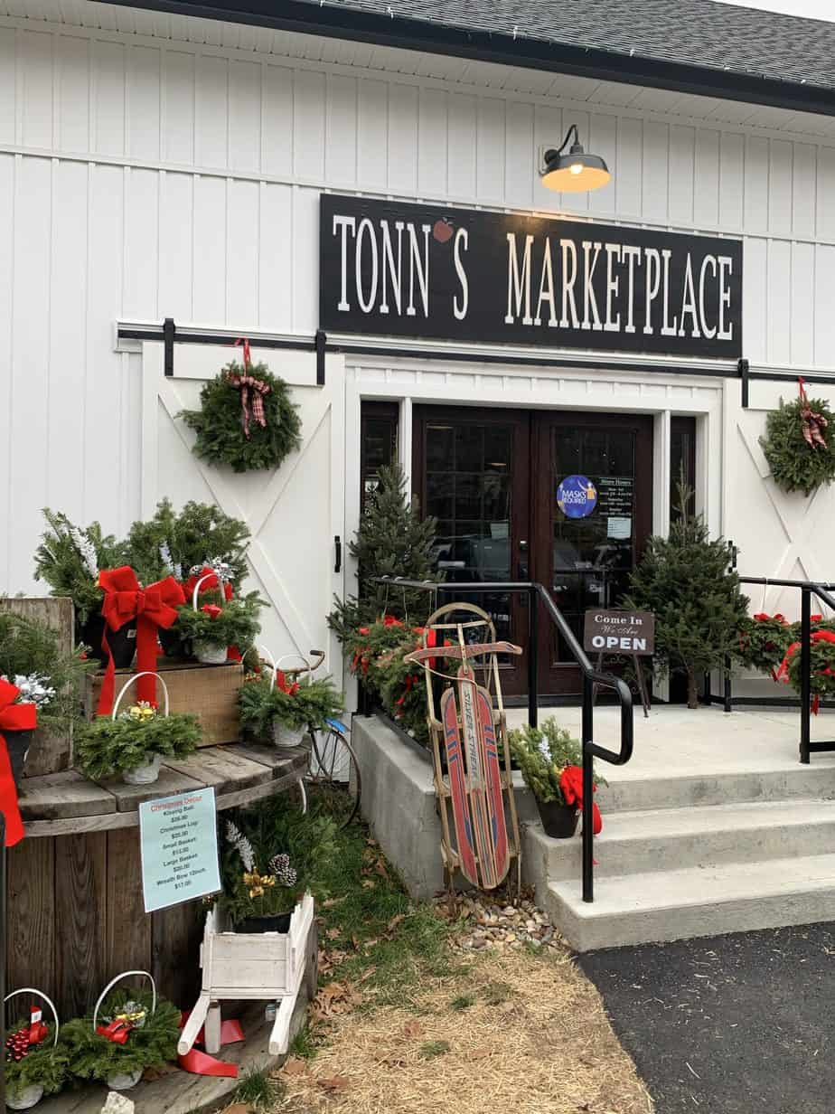 Tonns Marketplace facade with wood sled